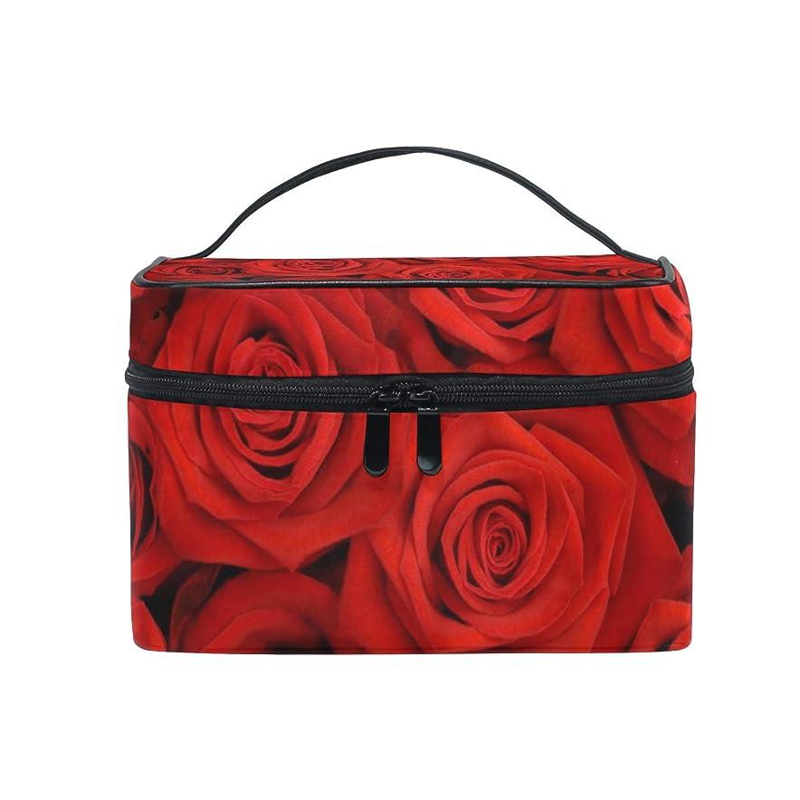 もっと少なく祖父母を訪問軍団ユキオ(UKIO) メイクポーチ 大容量 シンプル かわいい 持ち運び 旅行 化粧ポーチ コスメバッグ 化粧品 大きなバラ 赤い レディース 収納ケース ポーチ 収納ボックス 化粧箱 メイクバッグ
