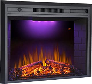 Valuxhome Electric Fireplace Heater Insert 33 inches with Log Speaker, Remote Control, 1500W, Black