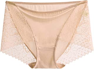 SilRiver Women's 100% Silk Lace Panties, Sexy Underwear , Breathable and Comfortable Hipster, Recommend for Sensitive Skin