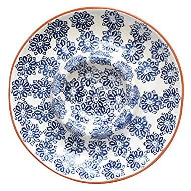 Euro Ceramica Azul Tile Collection 14  Terra Cotta Chip & Dip Party Platter, Floral Hand-Painted Design, Blue & White