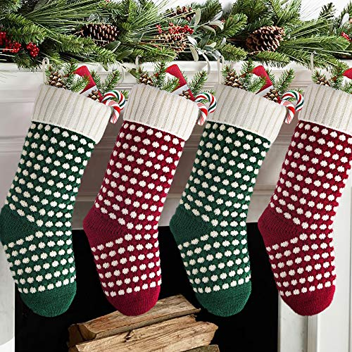 Meriwoods Christmas Stockings, 4 Pack 18 Inches Large Cable Knit Knitted Stockings, Rustic Xmas Farmhouse Decorations for Family Holiday Country Home Decor, Burgundy Red, Green & Cream White