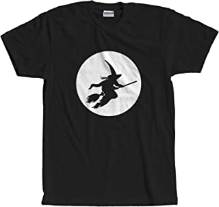 Witch On a Broom Full Moon Halloween Costume Silhouette T-Shirt