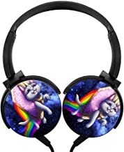 BEKAI Cartoon Cute N-y-a-n Cat Over-Ear Heavy Bass Surround Sound Cable Headphones for Gaming/Music Black