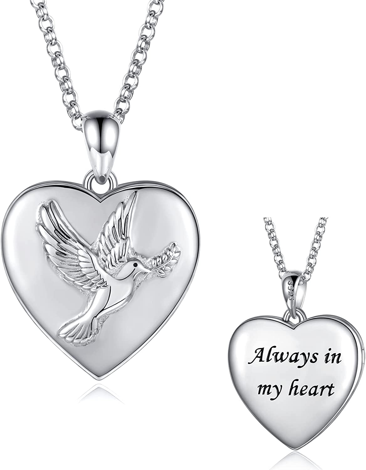 Sterling Silver Heart Locket Cheap bargain Necklace - Finally popular brand S925 Dove Holds Pendant
