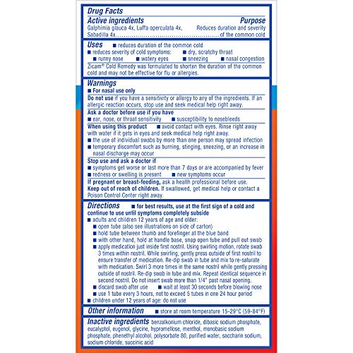 Zicam Cold Remedy Nasal Swabs, Cold-Shortening Nasal Swabs Clinically Proven to Shorten Colds. With Menthol and Eucalyptus Original Version Allergy, 20 Count (Pack of 1)