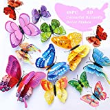 FENELY Butterfly Garden Decor Stakes,Double Wing Waterproof 3D Garden Ornaments Outdoor Decorations for Patio Lawn Yard PVC Gardening Art Christmas Whimsical Gifts