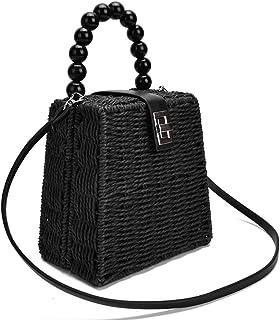 GSERA Weibliche Strohsack Frauen Umhängetasche Papier Seil Perlen Griff Handtasche Box Umhängetasche Beach Holiday Bags
