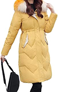 Womens Mid Length Down Coat Long Sleeve with Fur Hood Thickened Warm Jacket Overcoat