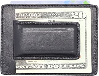 Made in the USA - Genuine Leather Money Clip Slim Front Pocket Wallet - American Factory Direct - Strong Magnets