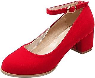 ec190998af COOLCEPT Mujer Elegante Hebilla Correa Tacon Ancho Boca Baja Zapatos