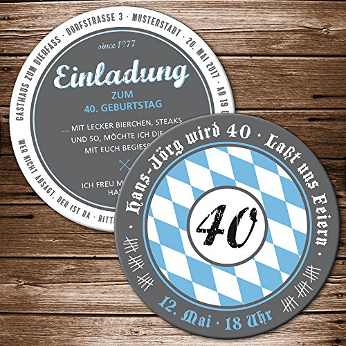 Bierdeckel 25 Stück Einladung Geburtstag mit Ihren Daten; Motiv Bayern Oktoberfest Bieruntersetzer Bierfilz originelle individuelle Einladungskarte blau-weiß Oktoberfest Party Biergarten Bier-Party