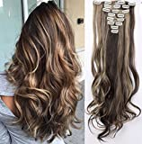 S-noilite Set 8pcs 60cm extension capelli clip nelle estensioni dei capelli della parte dei capelli ondulato o liscio pieno Testa vari colori Marrone scuro e cenere bionda