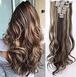 clips Naturel - marron foncé & blond de cendre