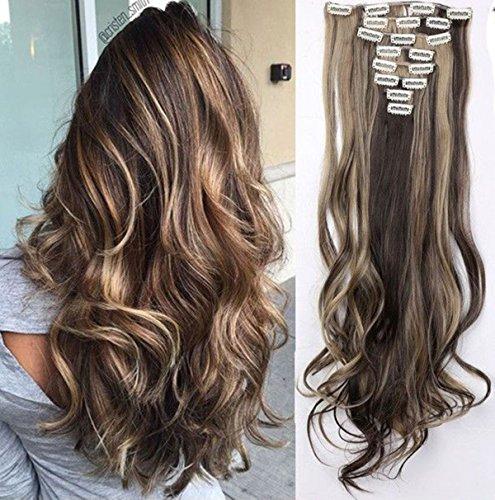 S-noilite 24  (60 cm) extensiones de cabello cabeza completa clip en extensiones de pelo Ombre ondulado rizado - Marrón oscuro & ceniza rubia
