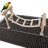 DEDC Soporte para Perchas de Pájaro, Juguete para Loro Columpio Escalada, Parques de Juegos para Periquitos, Cacatúas, Pájaros y Aletas de Entrenamiento (Natural)