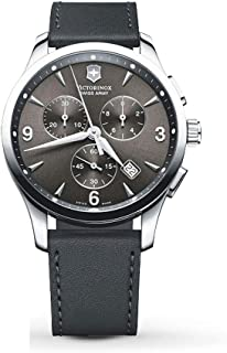 Victorinox Alliance Black Dial Leather Strap Mens Watch 241479XG (Renewed)
