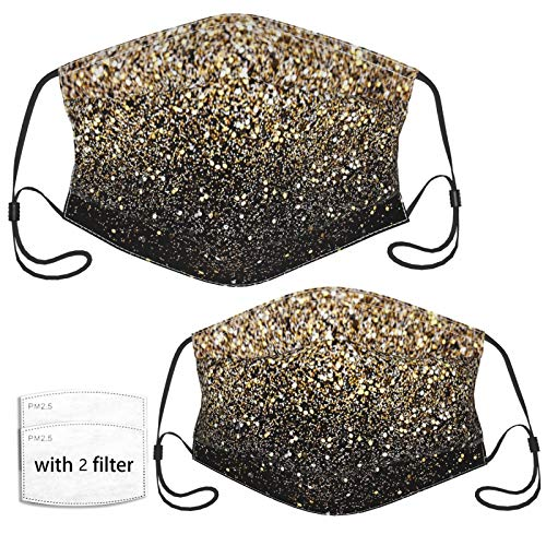 Black & Gold Sparkle Face Mask with 2 Pcs Filters, Reusable and Washable, Adjustable Elastic Earrings Soft and Breathable Kids Face Mask Balaclava,for Older Children and Adults