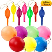 Coceca 50pcs Punch Balloons, Neon Punching Balloons with Rubber Band Handles, 18 Inch, Punch Balls for Gifts, Daily Games, Weddings