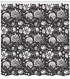 ABAKUHAUS Grau & Weiß Duschvorhang, Blooming Blumenstrauß, Hochwertig mit 12 Haken Set Leicht zu pflegen Farbfest Wasser Bakterie Resistent, 175 x 200 cm, Dunkel Taupe Weiß