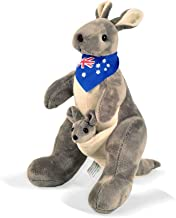 BOHS Plush Gray Kangaroo with Australia Scarf and Joey - Huggable Soft Stuffed Animals Toy- 11.8 Inches