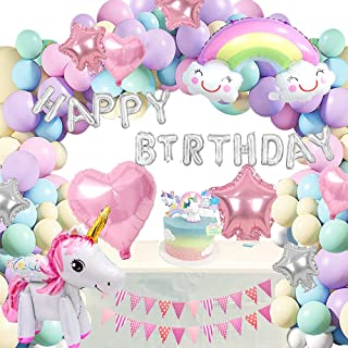 Unicorn Party Decorations Rainbow Star Theme Happy Birthday Decors Supplies for Girls 1st 2nd 65PC Pastel Balloon Garland ...