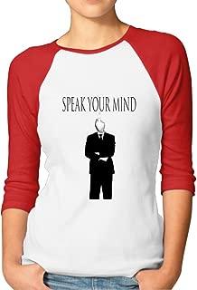 SAXON Women's Funny Speak You Mind Logo 4 Raglan Baseball T-Shirt