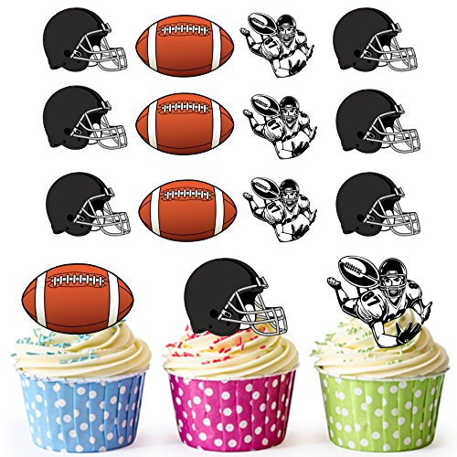 vorgeschnittenen American Football schwarz Helm–Essbare Cupcake Topper/Kuchen Dekorationen (12Stück)