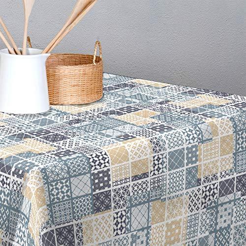 De'Carpet Mantel Antimanchas Resinado Confeccionado Hule Teflon BALDOSA HIDRÁULICA Pastel (100x140cm)