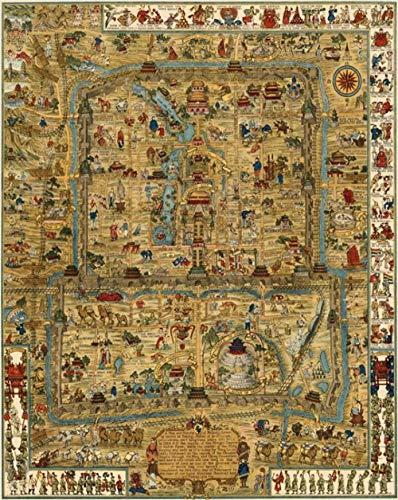 Oude kaart van Peking, Verboden Stad, uitzicht op straat1000 puzzels, familiepuzzels, houten puzzels, educatieve spellen, intellectuele uitdagingspuzzels, uitdagingsspellen