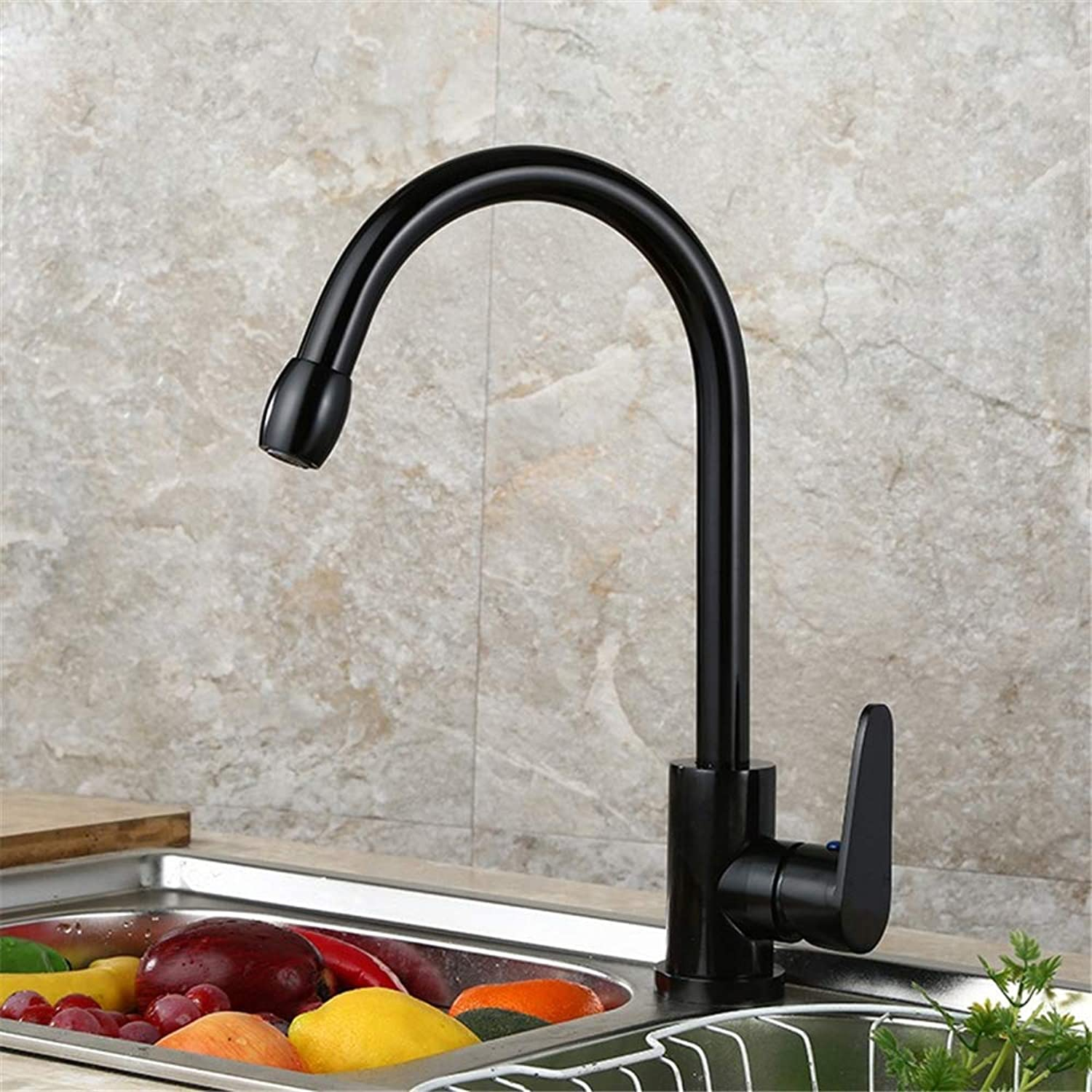 YBHNB Kitchen Basin Taps, Black Fashion Space Aluminum Kitchen Sink Faucet Kitchen Polishing greenical Inssizetion Hot and Cold Mixing Kitchen Faucet
