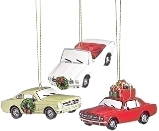 Ford Motor Mustang 3 Inch Resin Christmas Ornament Set of 3