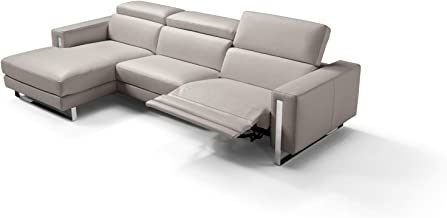 HomeRoots Sectional 100% Made in Italy Chaise On Left When Facing Warm Grey Top Grain Leather 1063