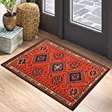 RoomTalks Vintage Turkish Small Area Rug 2x3 Persian Oriental Tribal Cotton Throw Rugs with Non-Slip Pad, Geometric Kilim Rug Floor Carpet for Kitchen Bathroom Living Room Washable (Orange, 2x3)