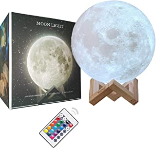 Ricris Moon Lamp-Cool 16 Colors 3D Printed Moon Light Lamps, Remote Control Mood Lamp Home Decor Night Light with Wood Stand, Rechargeable Lunar Moon Soft Light Color Change Moonlight Lamps(5.9IN)