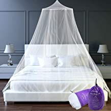 Htovila Universal White Dome Mosquito Mesh Net Easy Installation Hanging Bed Canopy Netting for Single to King Size Beds Hammocks Cribs