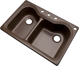 Dekor Sinks 56492Q Buckingham Composite Granite Double Bowl Kitchen Sink with Four Holes, 33-Inch, Mocha