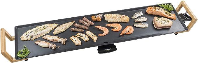 Bestron elektrische XXL grillplaat, plancha met antiaanbaklaag, 1800W, teppanyaki grill in aziatisch design, zwart