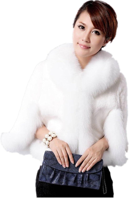 HHBY Women's Ivory 3 4 Sleeve Faux Fur Jacket & Coats