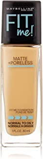 Maybelline New York Fit Me! Matte + Poreless Foundation, Natural Beige [220] 1 oz (Pack of 2)