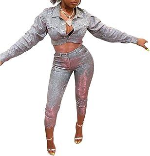 50df60809e4e Women Sequin Glitter 2 Piece Outfits Long Sleeve Botton Crop Top and Slim  Fit Pants Set