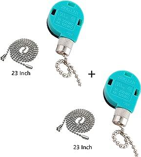 Ceiling Fan Switch Zing Ear Pull Chain Switch ZE-268S6 3 Speed 4 Wire Pull Chain Switch Control Ceiling Fan Replacement Speed Control Switch (2 Pack Nickel)