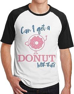 Sakanpo Men's Can I Get A Donut with That Short Sleeve Baseball Tee Raglan T-Shirt Black