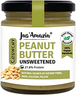 Jus Amazin Crunchy Organic Peanut Butter - Unsweetened (200g) | 27.8 % Protein | Plant-Based Nutrition | 100% Organic Pean...