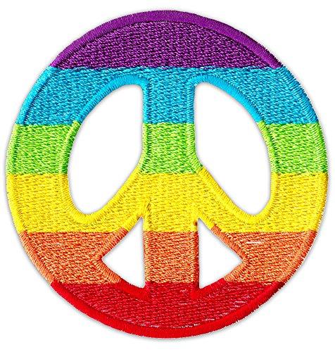 Rainbow Peace Aufnäher Aufbügler Patch Zeichen Friedenstaube Symbole Bewegung Pazifist Marsch Party Festival