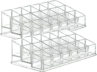Yebeauty Lipstick Holder, Clear Acrylic 18 Makeup Organizer Lipstick Display Stand Rack Tray, Pack of 2