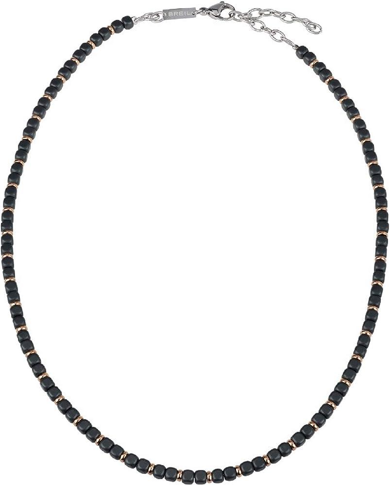 Breil collana per uomo collezione krypton in ematite satinata con piccoli elementi in acciaio rosa TJ2659