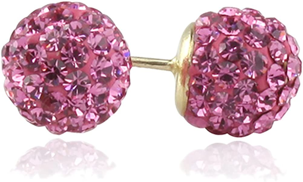 14K Yellow Gold Rose Pink Crystal Ball Stud Earrings Screwback (Available 6mm, 8mm)