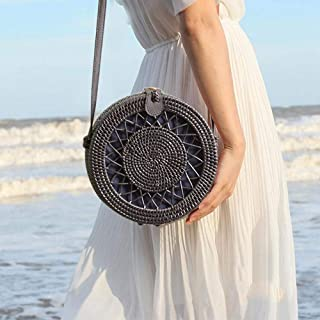 Rattan Purse for Women Handwoven Round Rattan Bag Straw Beach Bag with Leather Straps - Black Retro Natural Straw Tote Bag Crossbody Bag Gift for Ladies