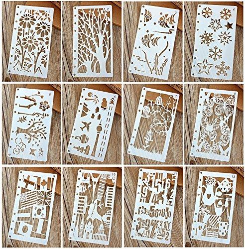 図面テンプレート ステンシル 描画ツール 塗り絵 製図用品 日記 手帳用 教育用 絵画学習 DIY定規 子供たちに 可愛い 17cm×9.8cm 12枚セット
