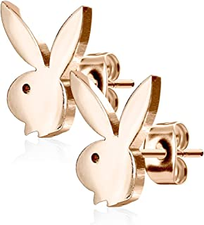 Playboy 316L 20G Surgical Steel Bunny Earring Studs Plated for Women 0.8 MM - Playboy License (Rose Gold)